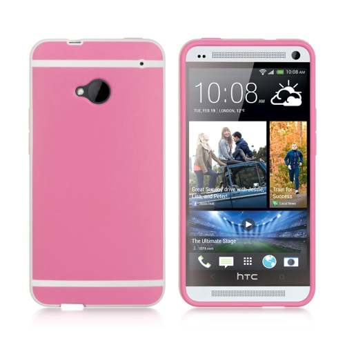 Insten TPU Rubber Candy Skin Case Cover Compatible With HTC One M7, Hot Pink/White