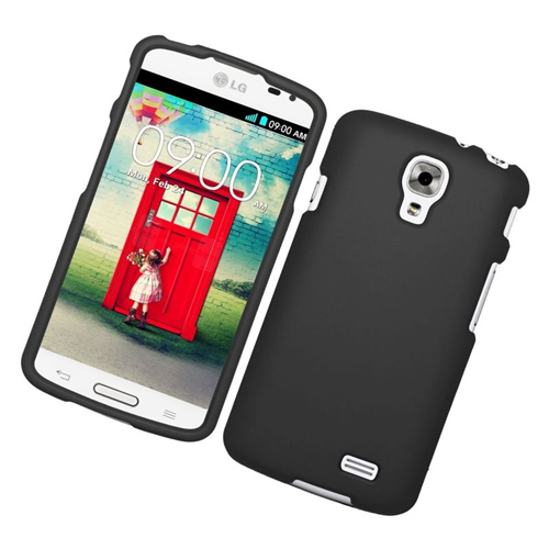Insten Rubberized Hard Snap-in Case Cover Compatible With LG F70 D315, Black