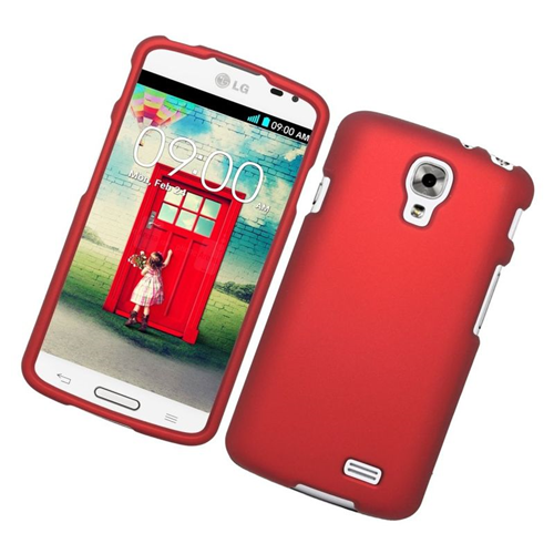 Insten Rubberized Hard Snap-in Case Cover Compatible With LG F70 D315, Red