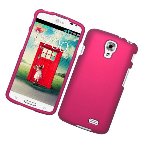 Insten Rubberized Hard Snap-in Case Cover Compatible With LG F70 D315, Hot Pink