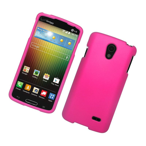 Insten Rubberized Hard Snap-in Case Cover Compatible With LG Lucid 3 VS876, Hot Pink
