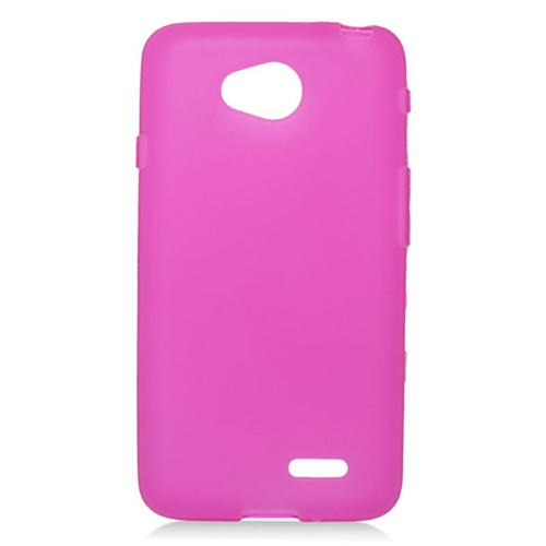 Insten TPU Rubber Candy Skin Case For LG Optimus L70 MS323/Realm LS620, Hot Pink