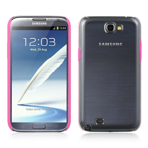 Insten Hard Snap-in Case Cover Compatible With Samsung Galaxy Note II, Clear/Hot Pink