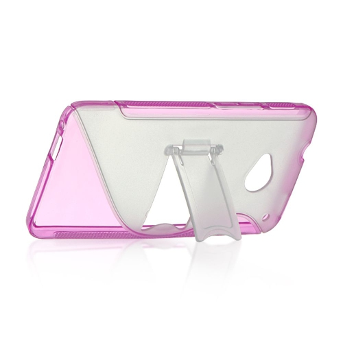 Insten S Shape Hard Snap-in Case Cover Compatible With HTC One M7, Clear/Hot Pink