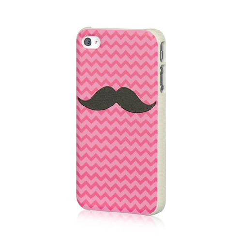 Insten Mustache TPU Rubber Candy Skin Case Cover Compatible With Apple iPhone 4, Pink/Black