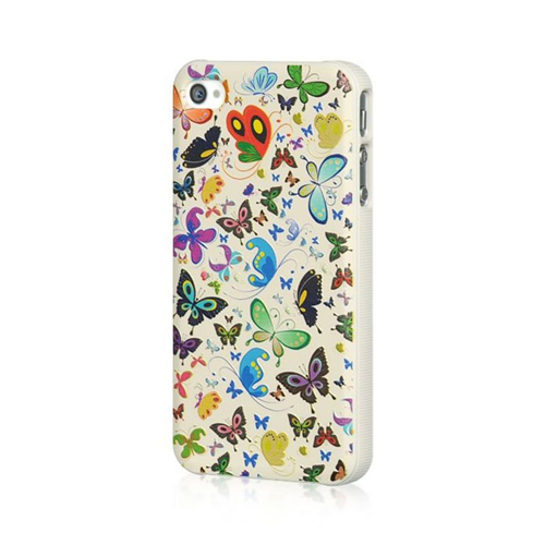 Insten Butterfly TPU Rubber Candy Skin Case Cover Compatible With Apple iPhone 4, Colorful