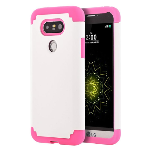 Insten Dual Layer Hybrid Rubberized Hard PC/Silicone Case Cover Compatible With LG G5, White/Pink