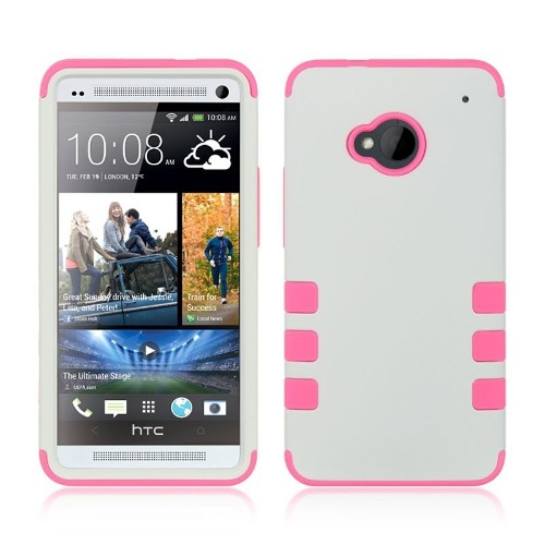 Insten Hybrid Rubberized Hard PC/Silicone Case For HTC One M7, White/Pink