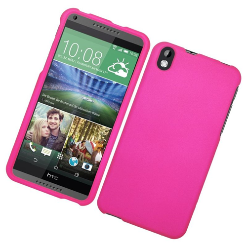 Insten Rubberized Hard Snap-in Case Cover Compatible With HTC Desire 816, Hot Pink