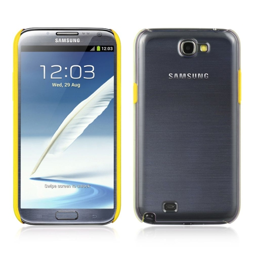 Insten Hard Snap-in Case Cover Compatible With Samsung Galaxy Note II, Clear/Yellow