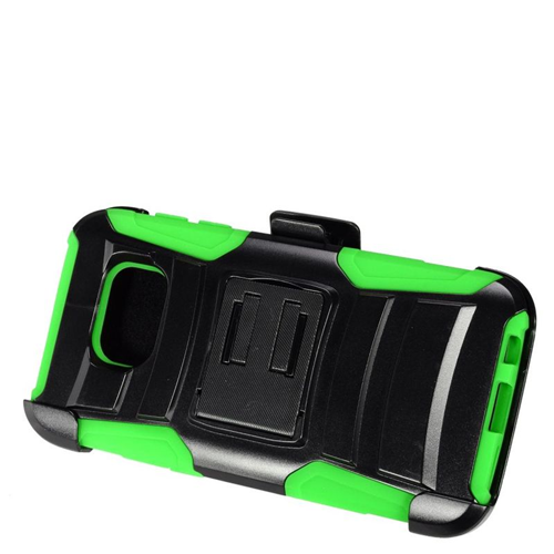 Insten Hybrid Stand PC/Silicone Holster Case For Samsung Galaxy S7, Black/Green