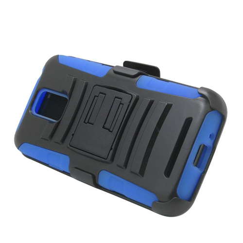 Insten Car Armor Hybrid Stand PC/Silicone Holster Case For Samsung ATIV SE W750V Huron, Black/Blue