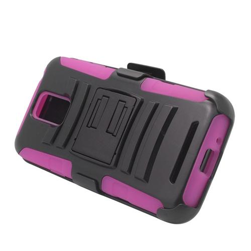 Insten Car Armor Hybrid PC/Silicone Holster Case For Samsung ATIV SE W750V Huron, Black/Hot Pink