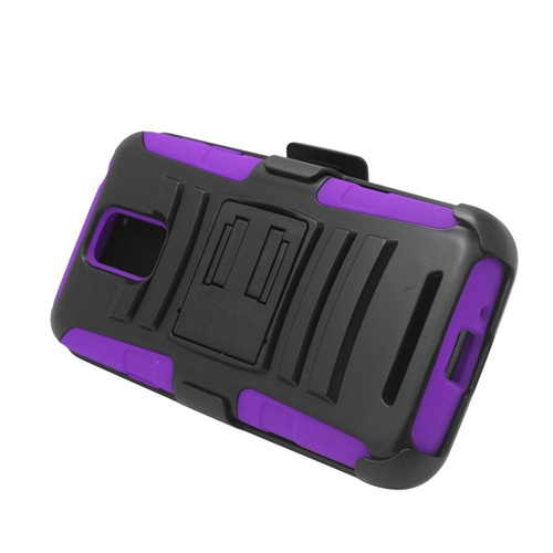 Insten Car Armor Hybrid Stand PC/Silicone Holster Case For Samsung ATIV SE W750V Huron, Black/Purple