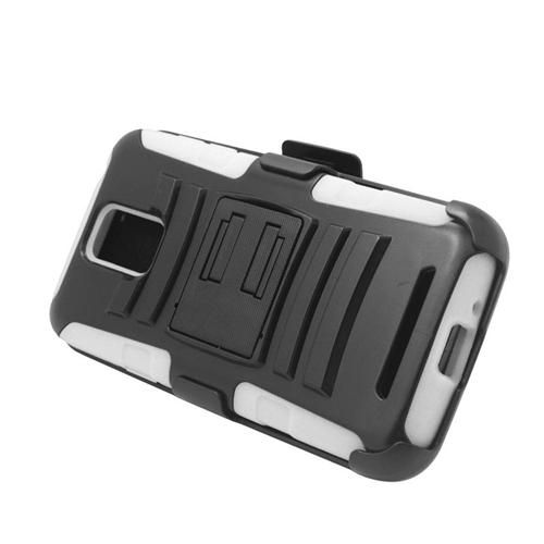 Insten Hybrid Stand PC/Silicone Holster Case For Samsung ATIV SE W750V Huron, Black/White