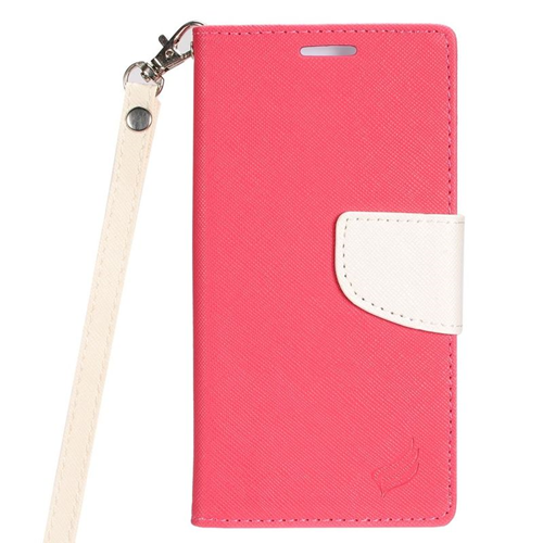 Insten Stand Folio Flip Leather Wallet Flap Pouch Case For LG Optimus Zone 3/Spree, Pink/White