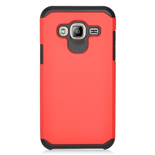 Insten Hybrid Rubberized Hard PC/Silicone Case For Samsung Galaxy Amp Prime/J3 (2016), Red/Black