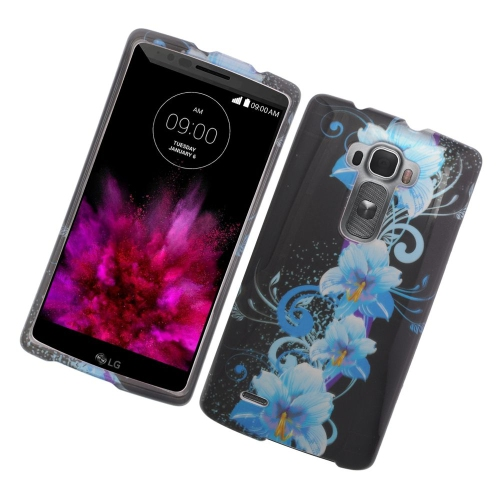 Insten Flowers Rubberized Hard Snap-in Case Cover Compatible With LG G Flex 2, Blue/Black