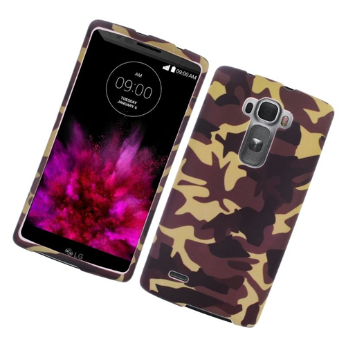 Insten Camouflage Rubberized Hard Snap-in Case Cover Compatible With LG G Flex 2, Brown