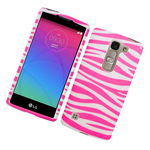 Insten Zebra Rubberized Hard Snap-in Case Cover Compatible With LG Escape 2 H443 / H445, Pink/White