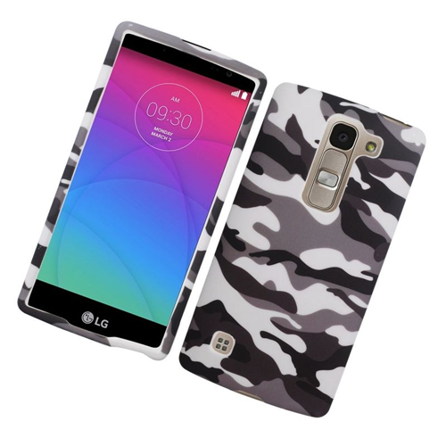 Insten Camouflage Rubberized Hard Snap-in Case For LG Escape 2 H443 / H445, Gray/White