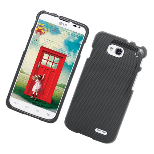 Insten Carbon Fiber Rubberized Hard Snap-in Case Cover Compatible With LG Optimus L90, Gray/Black