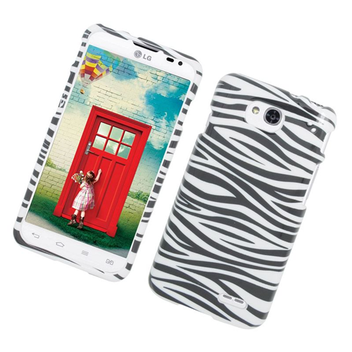 Insten Zebra Rubberized Hard Snap-in Case Cover Compatible With LG Optimus L90, Black/White