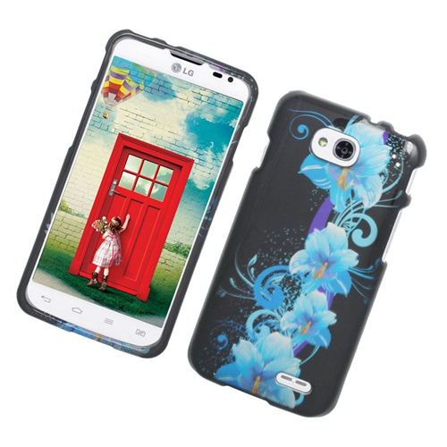 Insten Flowers Rubberized Hard Snap-in Case Cover Compatible With LG Optimus L90, Blue/Black