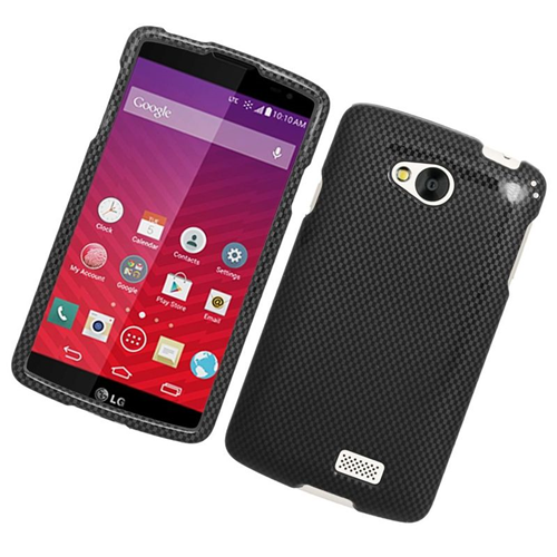 Insten Carbon Fiber Rubberized Hard Snap-in Case Cover Compatible With LG Tribute, Gray/Black