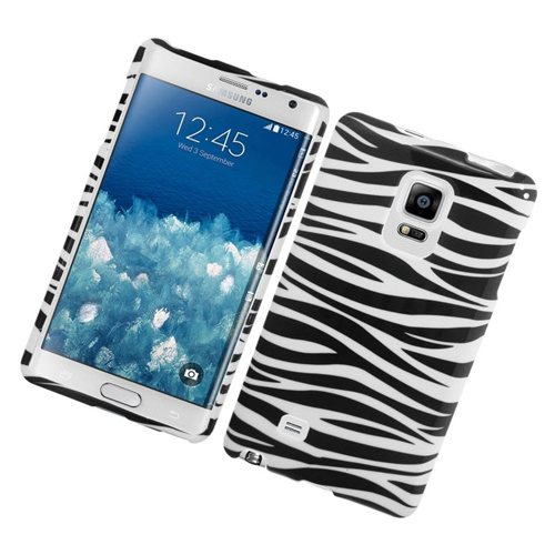 Insten Zebra Rubberized Hard Snap-in Case For Samsung Galaxy Note Edge, Black/White