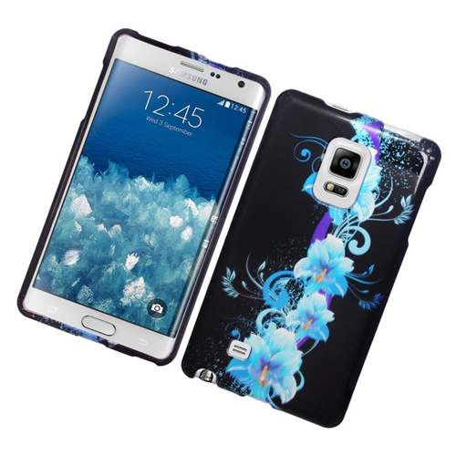 Insten Flowers Rubberized Hard Snap-in Case For Samsung Galaxy Note Edge, Blue/Black