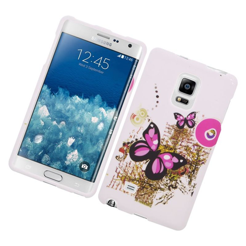 Insten Butterfly Rubberized Hard Snap-in Case For Samsung Galaxy Note Edge, White/Pink