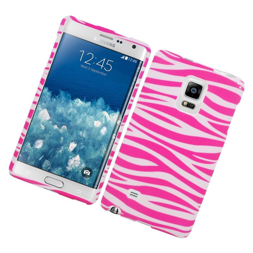 Insten Zebra Rubberized Hard Snap-in Case Cover Compatible With Samsung Galaxy Note Edge, Pink/White