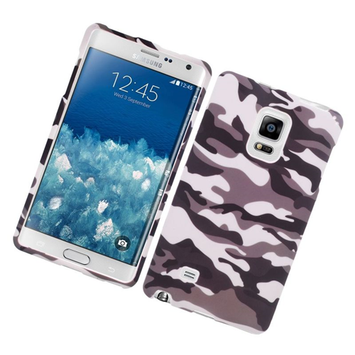 Insten Camouflage Rubberized Hard Snap-in Case For Samsung Galaxy Note Edge, Gray/White