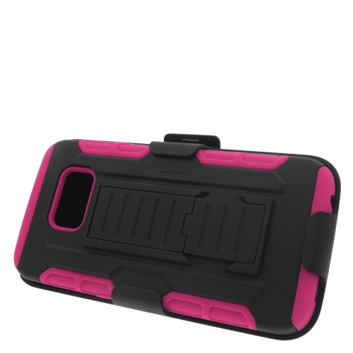 Insten Car Armor Hybrid Stand PC/Silicone Holster Case For Samsung Galaxy S6 Edge, Black/Hot Pink
