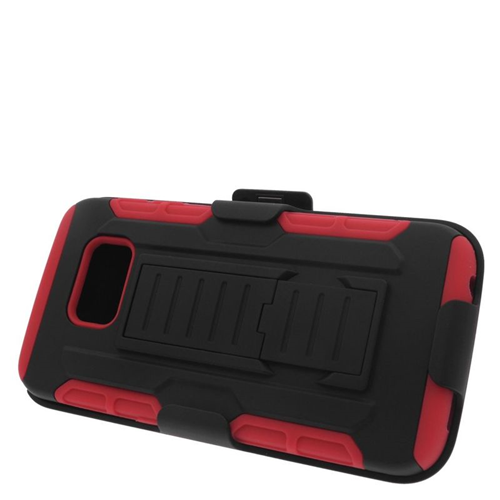 Insten Car Armor Hybrid Stand PC/Silicone Holster Case For Samsung Galaxy S6 Edge, Black/Red