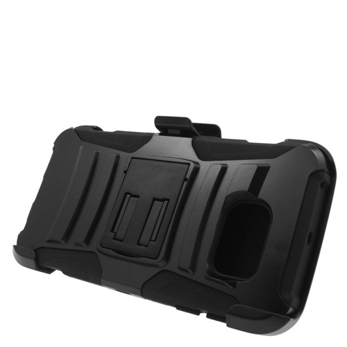 Insten Hybrid Stand PC/Silicone Holster Case For Samsung Galaxy S6 Edge, Black
