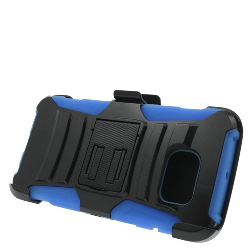 Insten Hybrid Stand PC/Silicone Holster Case For Samsung Galaxy S6 Edge, Black/Blue