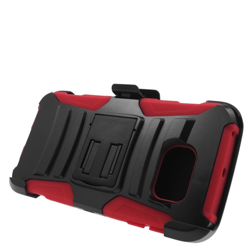 Insten Hybrid Stand PC/Silicone Holster Case For Samsung Galaxy S6 Edge, Black/Red