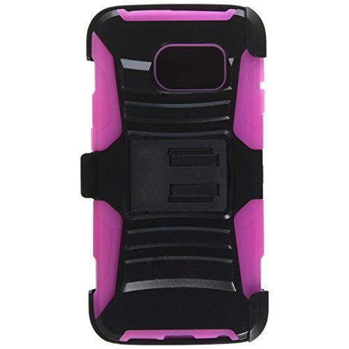 Insten Hybrid Stand PC/Silicone Holster Case For Samsung Galaxy S6 Edge, Black/Hot Pink