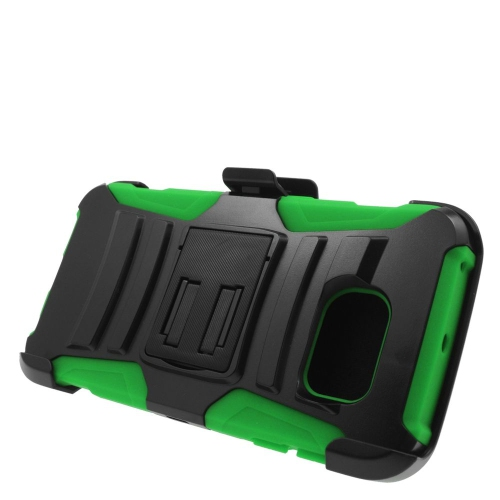 Insten Hybrid Stand PC/Silicone Holster Case For Samsung Galaxy S6 Edge, Black/Green