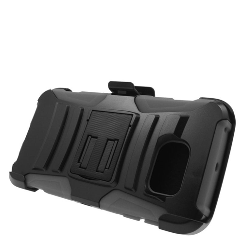 Insten Hybrid Stand PC/Silicone Holster Case For Samsung Galaxy S6 Edge, Black/Gray