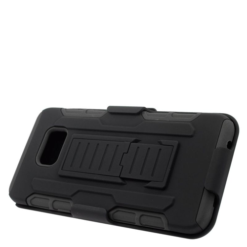 Insten Car Armor Hybrid Stand PC/Silicone Holster Case For Samsung Galaxy S6 Edge Plus, Black
