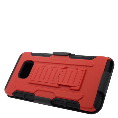 Insten Car Armor Hybrid Stand PC/Silicone Holster Case For Samsung Galaxy S6 Edge Plus, Red/Black