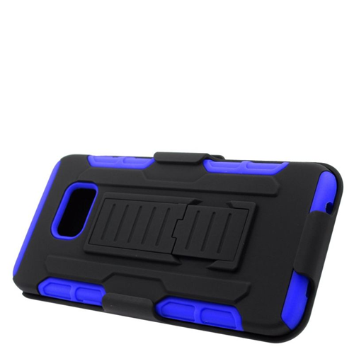 Insten Car Armor Hybrid Stand PC/Silicone Holster Case For Samsung Galaxy S6 Edge Plus, Black/Blue