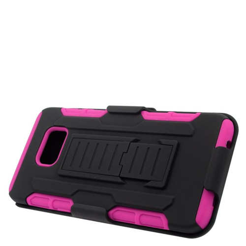 Insten Car Armor Hybrid PC/Silicone Holster Case For Samsung Galaxy S6 Edge Plus, Black/Hot Pink