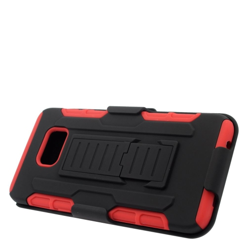 Insten Car Armor Hybrid Stand PC/Silicone Holster Case For Samsung Galaxy S6 Edge Plus, Black/Red