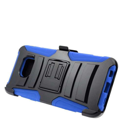 Insten Hybrid Stand PC/Silicone Holster Case For Samsung Galaxy S6 Edge Plus, Black/Blue