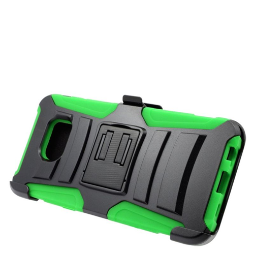 Insten Hybrid Stand PC/Silicone Holster Case For Samsung Galaxy S6 Edge Plus, Black/Green