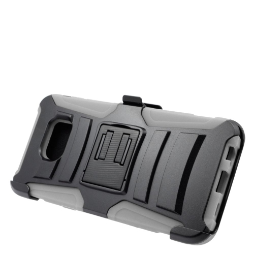 Insten Hybrid Stand PC/Silicone Holster Case For Samsung Galaxy S6 Edge Plus, Black/Gray